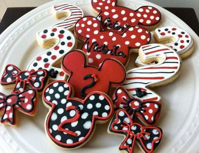 Decorated Minnie Mouse Personalized Cookies Red And Black Perfect For Your Childs Birthday Party Favors