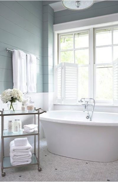 Paint wood paneling in bathrooms and add tile wainscoting be bath ideas juxtapost Bathroom designs wood paneling
