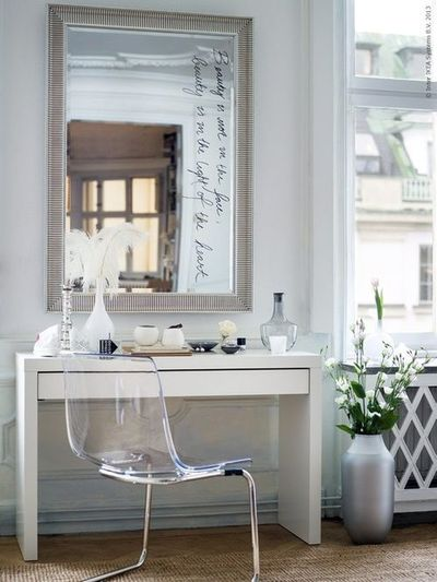 Gorgeous Bedroom Vanity Composed Of Ikea Songe Mirror Over Malm Dressing Table