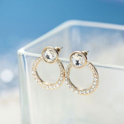 rhinestone circle earrings,crystal stud earrings,fashion,chic,stylish,hot selling,women,girl,earrings,gold plated stud earrings,rhinestone circle stud earrings,crystal circle earrings,crystal hoop earrings