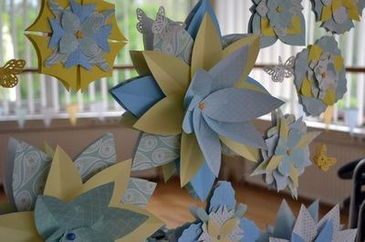 Paper flower decorations at a Country Garden Baby Shower #babyshower #paperflowers