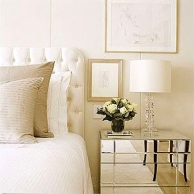 Mirrored Night Stand Gorgeous Tufted Headboard amp Be