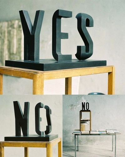 Yes/No - wonderful typographical sculpture by Markus Raetz.