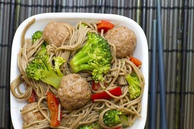 soba noodles and meatballs | {Cake, Batter, and Bowl}