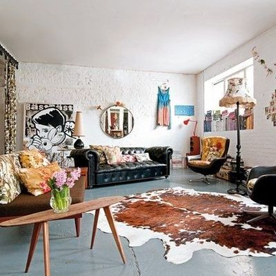 Great Use Of Cowhide Rug Chesterfield Sofa Spearmin Inspiring Qu