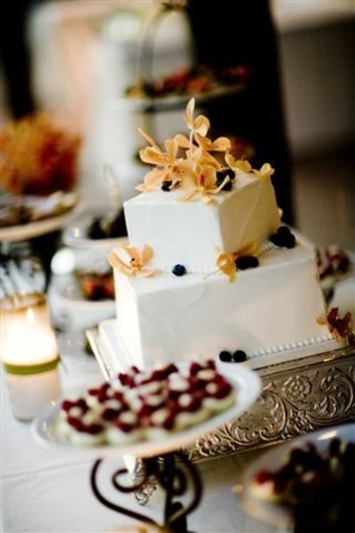 token wedding cake with petite fours
