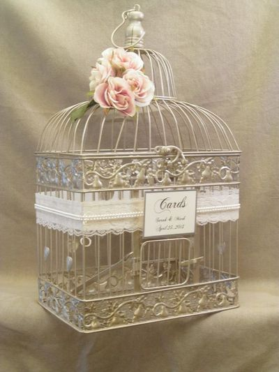 Wedding card box champagne birdcage pearls bird cage for Decoration urne