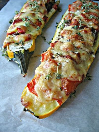 stuffed yellow squash- brace yourselves. Squash season is coming....