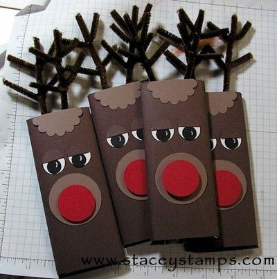 The perfect class gift for Christmas - Rudolph Wrapped Hershey Bar - super cute! - Click image to find more DIY & Crafts Pinterest pins (