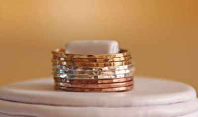 TRI COLOR: 14k rose gold filled, yellow gold filled and sterling silver hammered stackable rings