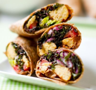 Kale Avocado Wraps with Spicy Miso-Dipped Tempeh