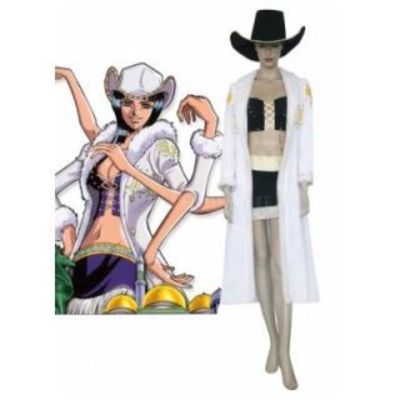 One Piece White Black Nick Robin Uniform Cloth Cosplay Costume---CosplayDeal.com