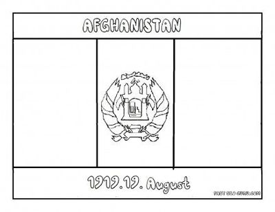 Free Printable Flag of afghanistan coloring page for kids ed