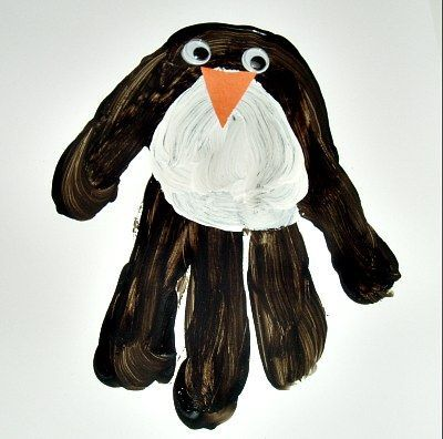 Handprint Penguin Winter Craft