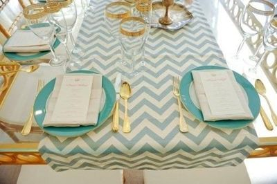 Mint Green And Gold Table Decor .. Chevron Table Runner