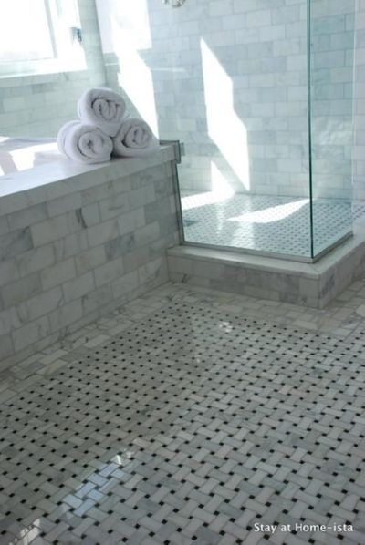 Bathrooms Seamless Glass Shower Marble Basketweave Tiles