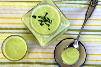 """Creamy Cilantro Avocado Salad Dressing Recipe �€œGreek yogurt is the perfect way to add a creamy texture to salad dressings without the extra fat,�€ �€""""Cassey Ho"""
