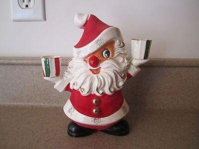 Vtg HOLT HOWARD Christmas Santa Figurine Candle Holder w Label   eBay