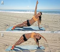 Pumped-Up Planks: Workouts: Self.com:Want to get flat abs in just a few moves? Try the plank, an all-purpose move that firms and tones your midsection. Try a basic plank or one of these seven effective variations.