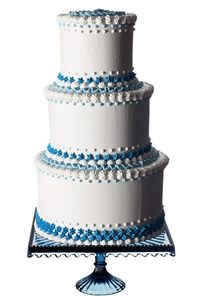 White Wedding Cake with Blue Accents