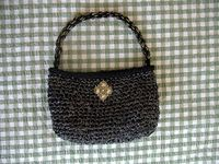 Crochet a bag with video tape.