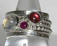 Birthstone Jewelry - Sterling Silver stacking rings with Pink Tourmaline, Ruby & Rainbow Moonstone birthstones. #stacking #rings #mother's rings