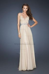 A-line Strapless Nude Chiffon Long Prom Dresses 2013 Affordable