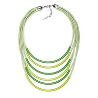 Layered Multi Strand Cord Curved Bar Statement Necklace