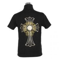 Yellow Chrome Hearts Horshoes Cross Black T-shirt