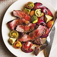 Grilled Flank Steak with Onions, Avocado, and Tomatoes | CookingLight.com