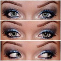 Lighter High Tech Energy as primer. Micro Satin Shadow under brow . Eyedust Crystal , in corner eye. Eyedust Spionage on the eyelid. Micro Shadow Deep Blue at the tip of the cap. Micro Shadow Cupola (almost black) added edge in global to make some...