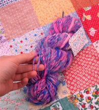 Cotton Candy Handspun Super Sparkly Pink and Blue Yarn