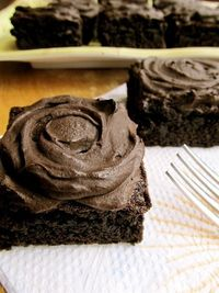 Jumbo fudge brownies with perfect chocolate frosting - these are dangerous. And I don't even like chocolate all that much.