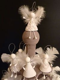 angels and more angels christmas angels ornaments feathers crafts - Handmade Angels Christmas Decorations
