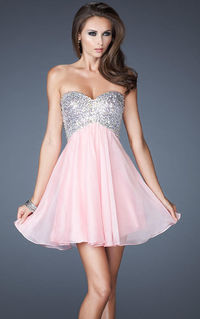 Sparkly Pink Strapless Mini Dress With Straps Cutout Back