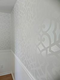 stenciled wall with matte under semi gloss 1 shade difference.