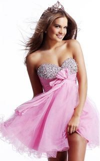 Embellished Strapless Baby-doll Minidress For Homecoming In Pink