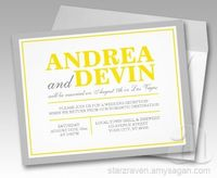 Gray & Yellow Wedding Reception ONLY Invitations