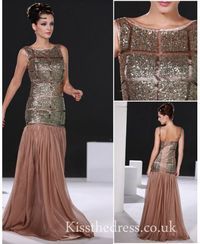 Coffee Sequins Mermaid Long Prom Dress EM048