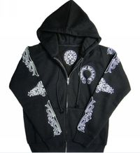 Chrome Hearts Signature Horseshoes Logo Cross Hoodie