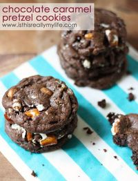 Chocolate Carmel Pretzel Cookies