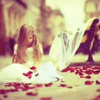 Little girl and Rose Petals.