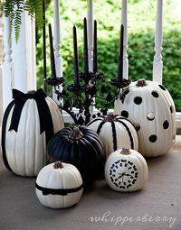 Black and White Halloween Pumpkins by