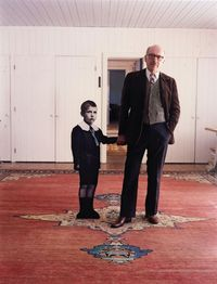 Saul Steinberg, with himself as a Little Boy, Long Island, 1978 photo by Evelyn Hofer