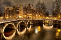 The streets and canals of Amsterdam.