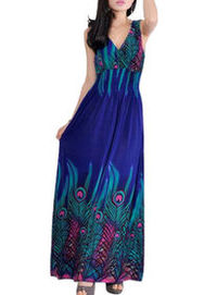 TopTie Peacock Printed Empire Waist Maxi Dress - Blue
