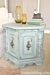 Love this idea!!! we sometimes find things like this at tag sales but I can't ever get past the ugly color/datedness of the item!!! other poster: So this is what you do w/ the 70's-80's octagon table. DIY furniture re-do with Annie Sloan...