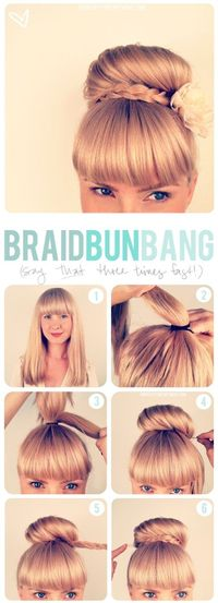 Girls with bangs (aka: fringe) seem to have some trouble finding updos. Here's one that I think is super cute and pretty easy to do. It takes about 5-10 minutes and keeps your hair out of your way all day. It's a great way to deal with...