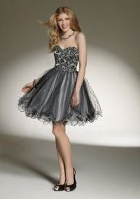 Gray Tulle Strapless Short Lace Embellished Sequin Homcoming Dress