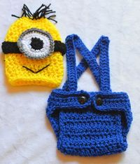 OMG! Baby Boy Crochet Minion Despicable Me Outfit. Newborn by ChildishDreams.